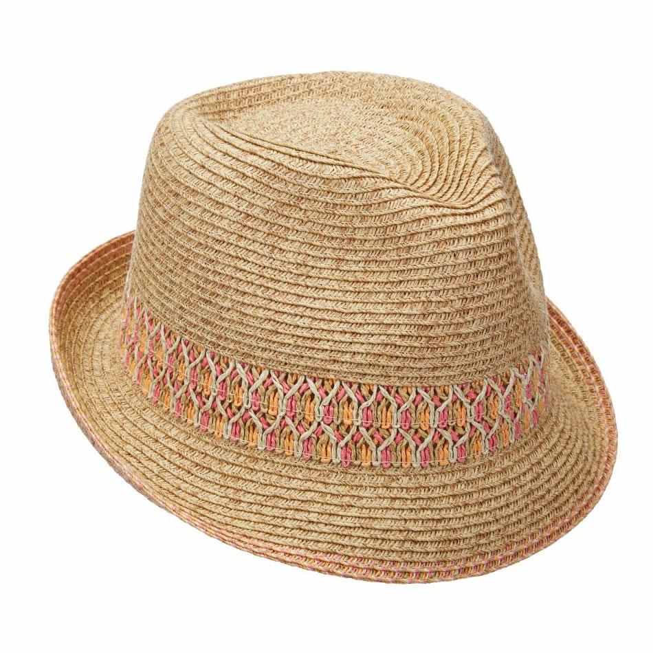 820d6b45dd593 Scala Paper Braid Fedora Hat - Pink