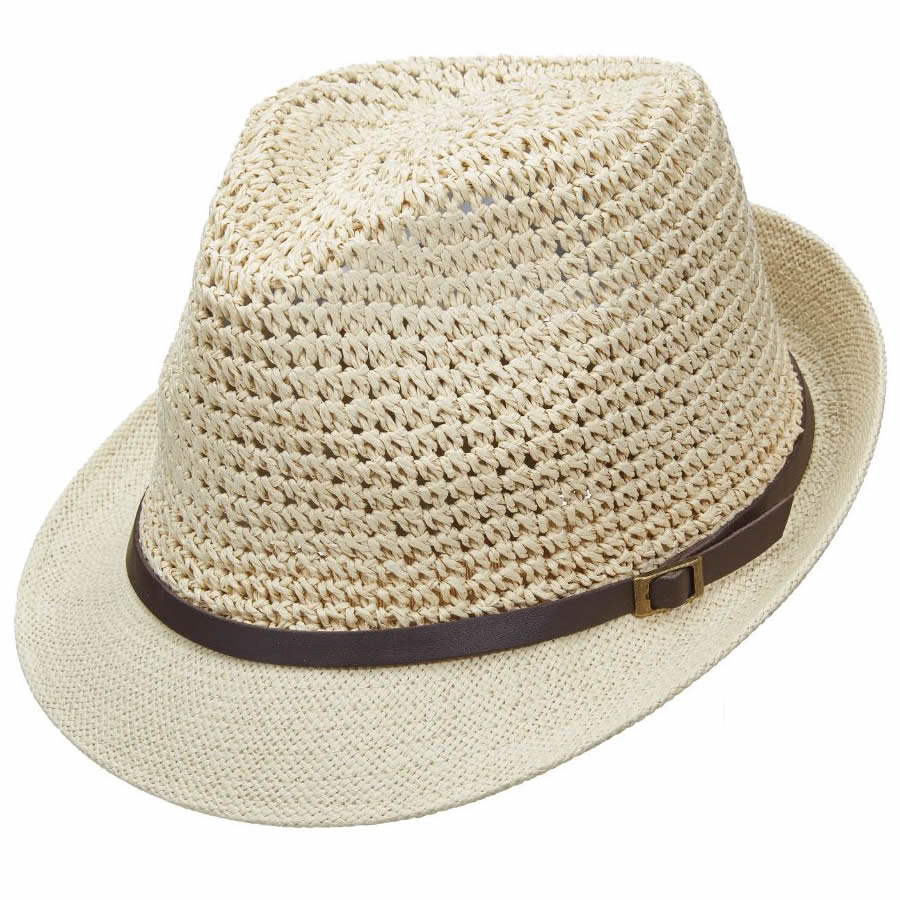012320082a483 Scala Pronto Fedora with Faux Leather Band- Natural